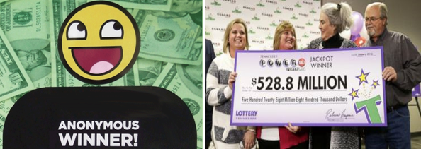 Anonymous lottery winner, lottery winner, lotto winner